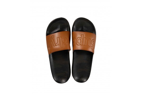 SUPERDRY LEATHER BEACH SLIDE MF310025A-20O Brown