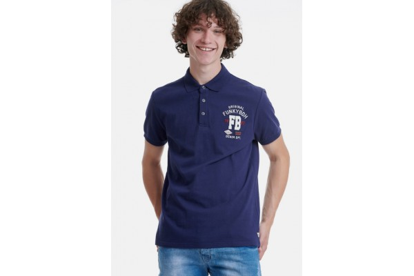 FUNKY BUDDHA MEN'S POLO T-SHIRT FBM00101411-NAVY Blue