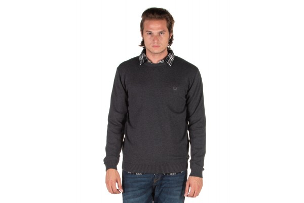 EMERSON COTTON KNITTED SWEATER 192.EM70.90-D.GREY ML Coal