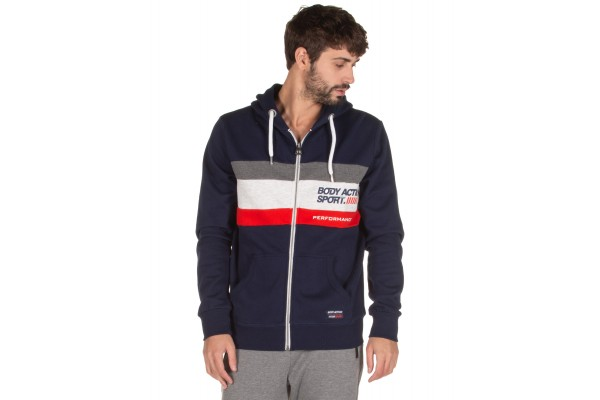 BODY ACTION TRI COLOR ZIP HOODIE 073919-01-04B Blue