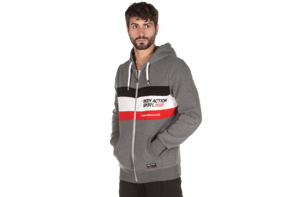 BODY ACTION TRI COLOR ZIP HOODIE 073919-01-03E Coal