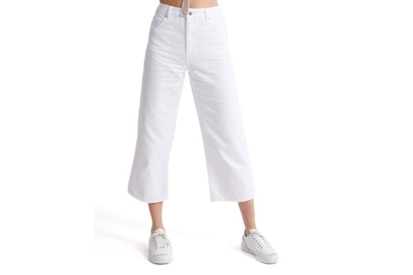 SUPERDRY WIDE LEG CROP W7010080A-M6N Λευκό