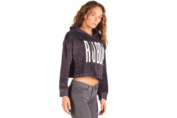 BODY ACTION VELOUR CROPPED HOODIE 061840-01-03G Coal